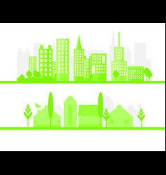 2 green city silhouette in flat design eco vector
