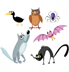 Animals halloween set vector