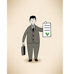 Businessman with signed contract vector