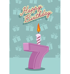 7 year happy birthday card vector