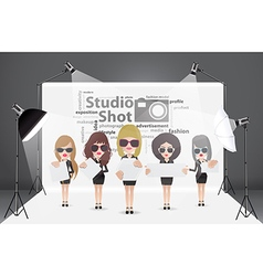 Woman posing fashion in photography studio vector