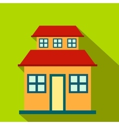 Cottage with a mansard flat icon vector