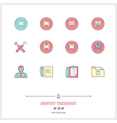 Dentist therapist line icons set vector