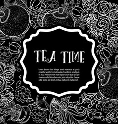 Tea time design banner templates set vector image