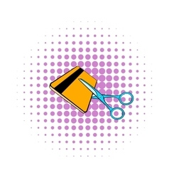 Scissors cut credit card icon comics style vector