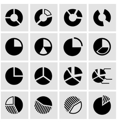 Black pie chart icon set vector