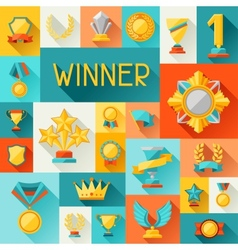 Background with trophy and awards in flat design vector