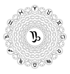 Black and white mandala zodiac capricorn vector