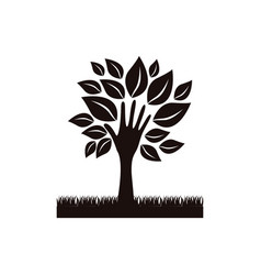 Black tree with leaves and grass icon vector