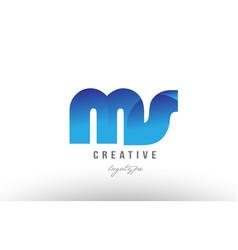 Blue gradient ms m s alphabet letter logo vector