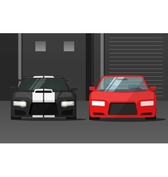 Cars front view in dark street sport expensive vector