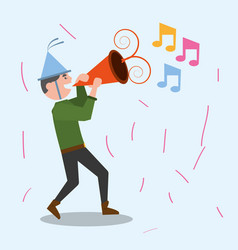 cheerful man celebration party music vector image vector image