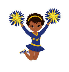 Cheerleader in blue and yellow uniform with pom vector