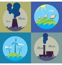 Eco energy and air pollution banners set vector
