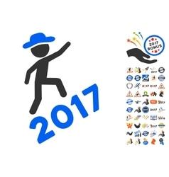 Gentleman climbing 2017 icon with 2017 year bonus vector
