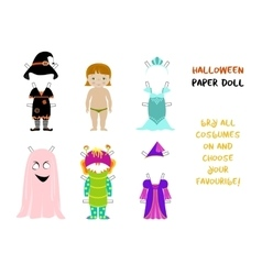 Halloween paper doll cartoon vector