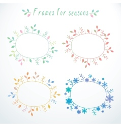 Hand-drawn frames with all seasons vector image