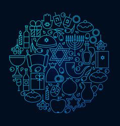 Hanukkah line icon circle concept vector