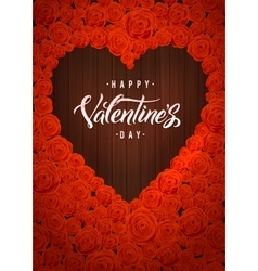 Happy valentines day lettering card dark wood vector