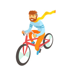 hipster man enjoying cycling sport lifestyle vector image vector image