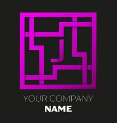 Letter j symbol in colorful square maze vector