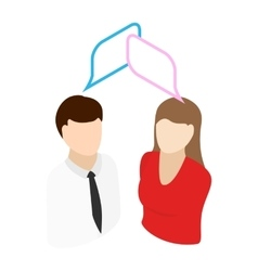 Male talking with female isometric 3d icon vector