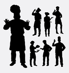 Master chef profession silhouettes vector