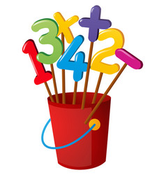 numbers on wooden stick in red bucket vector image
