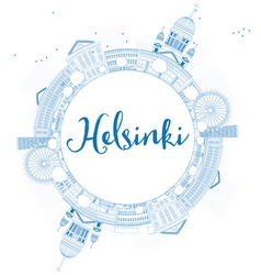 Outline Helsinki skyline with blue buildings vector image