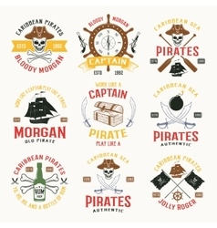 Pirates colored emblems vector