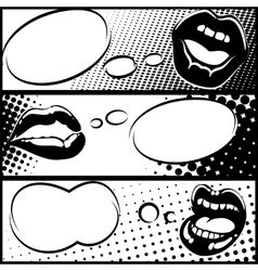 Pop art horizontal lip banners vector image vector image