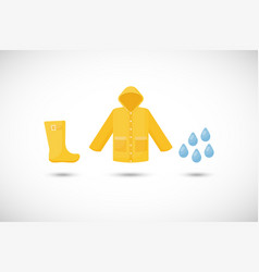 Raincoat rainboots and drops icons set vector