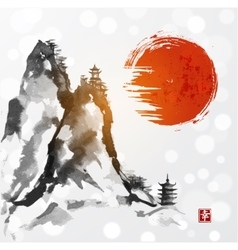Red sun high mountains and two pagodas vector image vector image