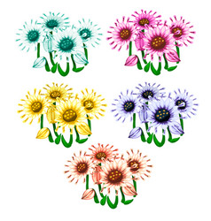 Set of flowers in different colors vector