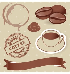 set of vintage coffee elements vector image vector image