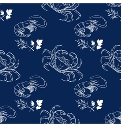 Shrimp dill crab on dark blue background vector