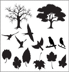 silhouette-of-tree-birds-and-leaves vector image vector image