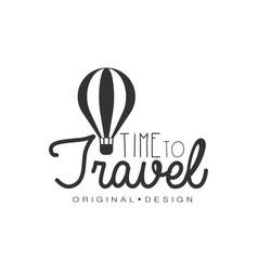 travel logo design with air balloon vector image