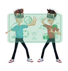 Two young man using virtual reality headset vector