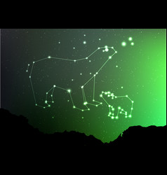 Ursa minor and major on nigt sky with forest vector