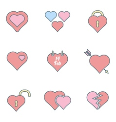 various color outline heart icons set vector image
