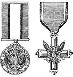 Vintage military medals vector