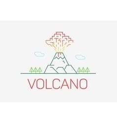 Volcano exploding thin line icon flat design logo vector