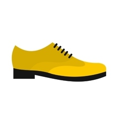 Male yellow shoe icon flat style vector