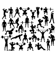 Weightlifting Bodybuildding Dumbbell Silhouettes vector image