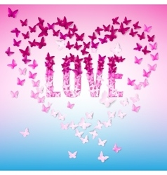 Greeting with text-love and butterfly vector