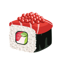 Sushi roll with salmon vegetables cream cheese vector