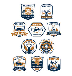 Hunting sport club and african safari badge set vector