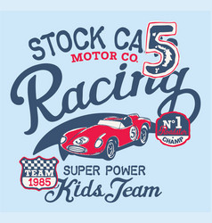 Cute stock car racing team vector