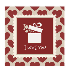 Valentines card with a gift in a frame vector